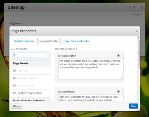 screenshot of the page properties pop up